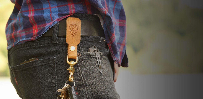 Custom Groomsmen Gift Stamped Leather Key Fob Belt Loop