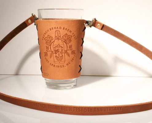 leather pint glass sleeve with lanyard