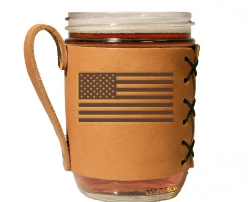 american flag wide mouth leather mason jar sleeve