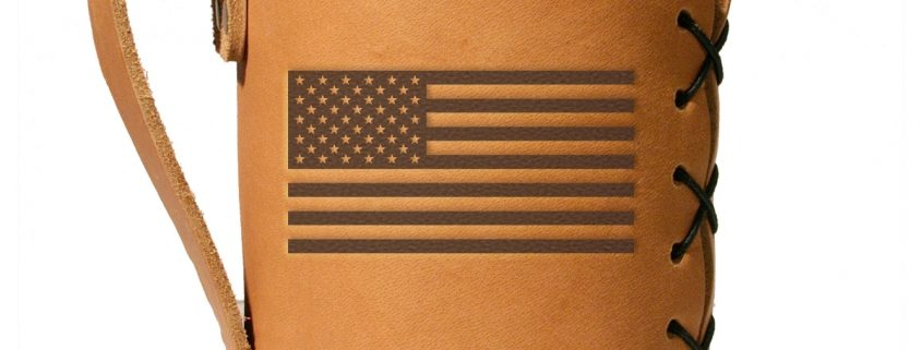 american flag wide mouth leather mason jar sleeve