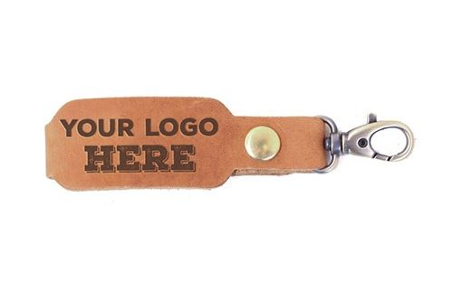 LOGO Leather Key Chain: Howling Wolf