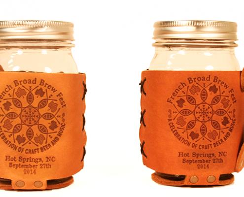 event custom branded leather mason jar sleeves
