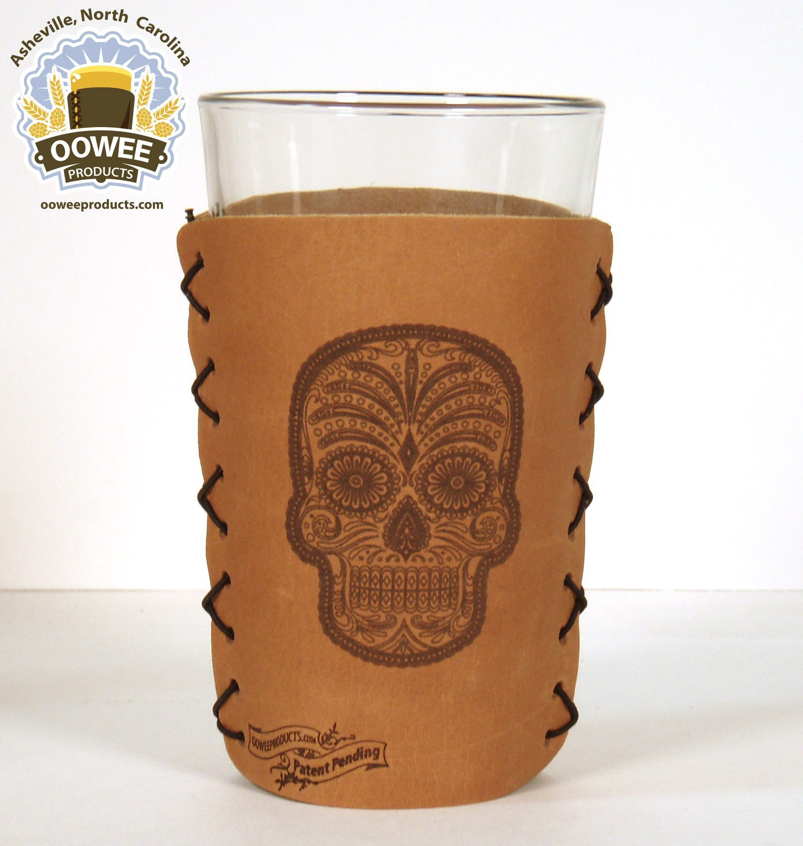 skeleton head pint glass koozie