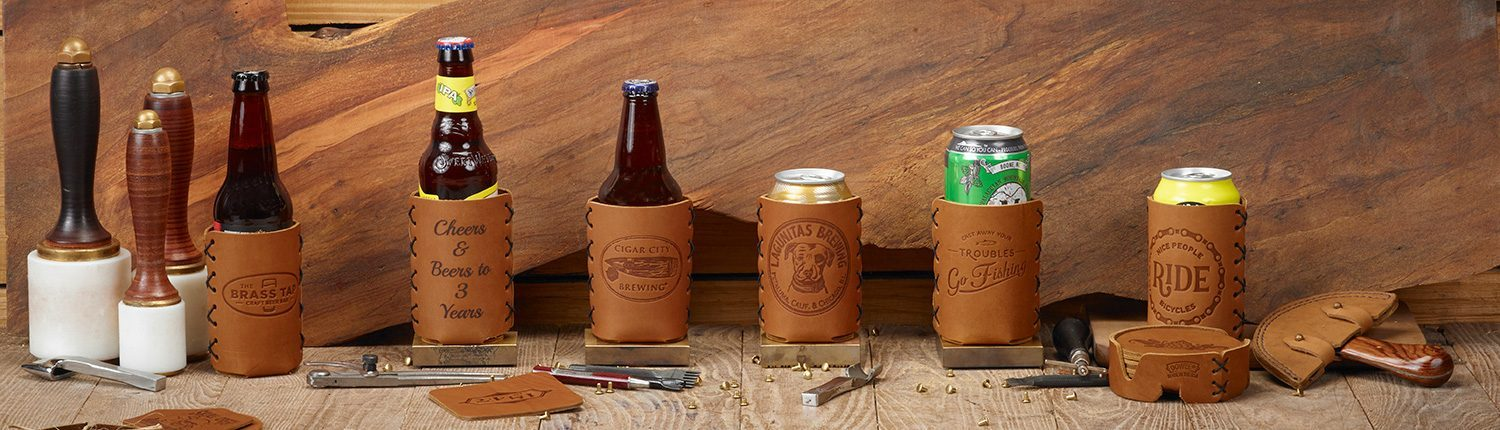 Customizable Leather Can Holders & Bottle Holders