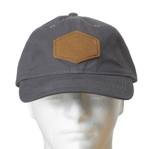 Graphite Chino Unstructured Hat with Custom Patch