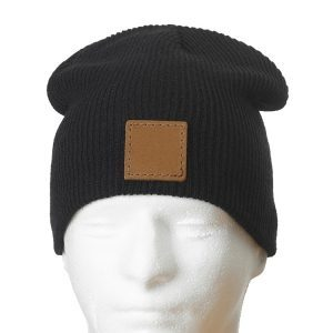 "9"" Super Soft Black Acrylic Beanie with Custom Patch"