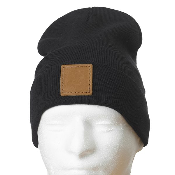 "12"" Black Cotton Blend Fold Beanie with Custom Patch"