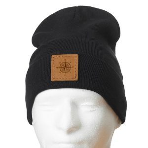 """12"""" Cotton Blend Fold Beanie with Patch: Compass Rose"""