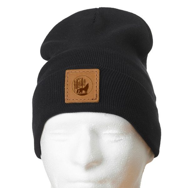"12"" Cotton Blend Fold Beanie with Patch: Howling Wolf"