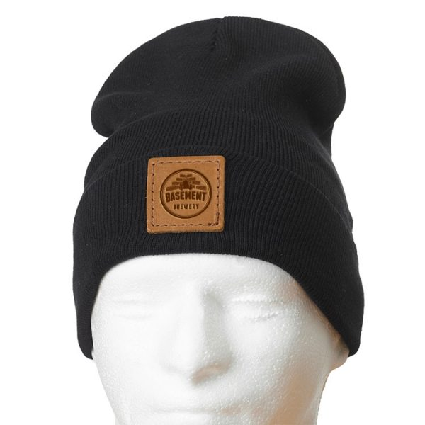 """12"""" Cotton Blend Fold Beanie with Patch: Basement Brewery"""