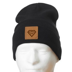 "12"" Cotton Blend Fold Beanie with Patch: Super Dad"