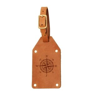 Riveted Double Sided Luggage Tag with Buckle: Compass Rose