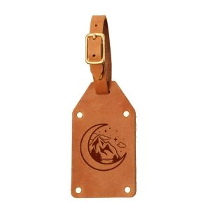 Riveted Double Sided Luggage Tag with Buckle: Mountain & Moon
