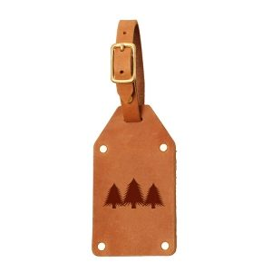 Riveted Double Sided Luggage Tag with Buckle: Pine Trees