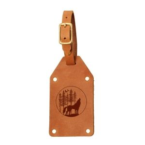 Riveted Double Sided Luggage Tag with Buckle: Howling Wolf