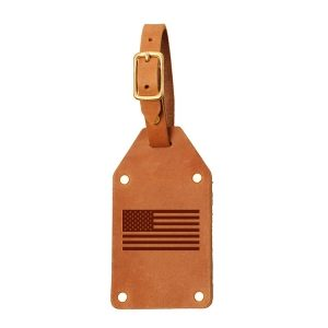 Riveted Double Sided Luggage Tag with Buckle: American Flag
