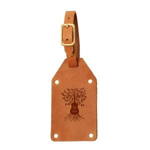 Riveted Double Sided Luggage Tag with Buckle: Guitar Tree