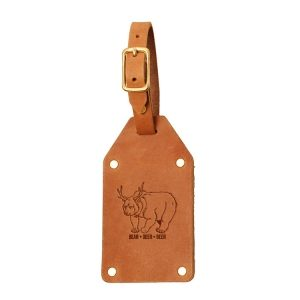 Riveted Double Sided Luggage Tag with Buckle: Beer Bear