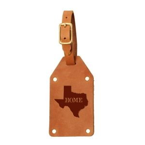 Riveted Double Sided Luggage Tag with Buckle: TX Home