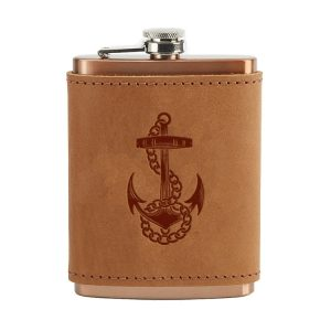 8 oz Copper Plated Stainless Flask with Leather Wrap: Anchor