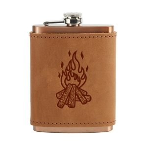 8 oz Copper Plated Stainless Flask with Leather Wrap: Camp Fire
