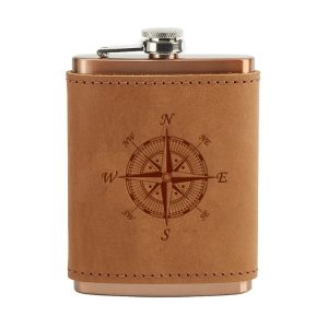 8 oz Copper Plated Stainless Flask with Leather Wrap: Compass Rose