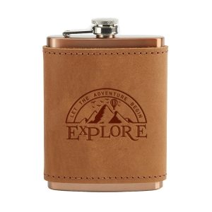 8 oz Copper Plated Stainless Flask with Leather Wrap: Explore
