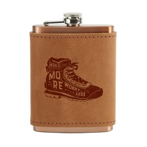8 oz Copper Plated Stainless Flask with Leather Wrap: Hike More, Worry Less