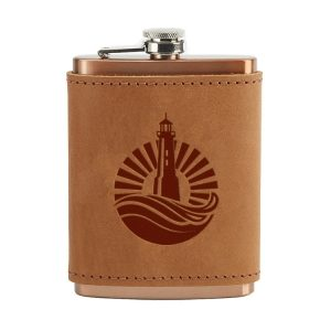 8 oz Copper Plated Stainless Flask with Leather Wrap: Light House