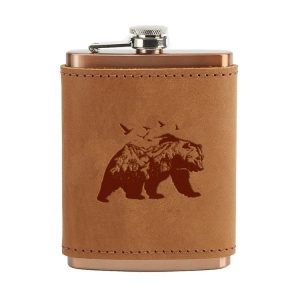 8 oz Copper Plated Stainless Flask with Leather Wrap: Mountain Bear