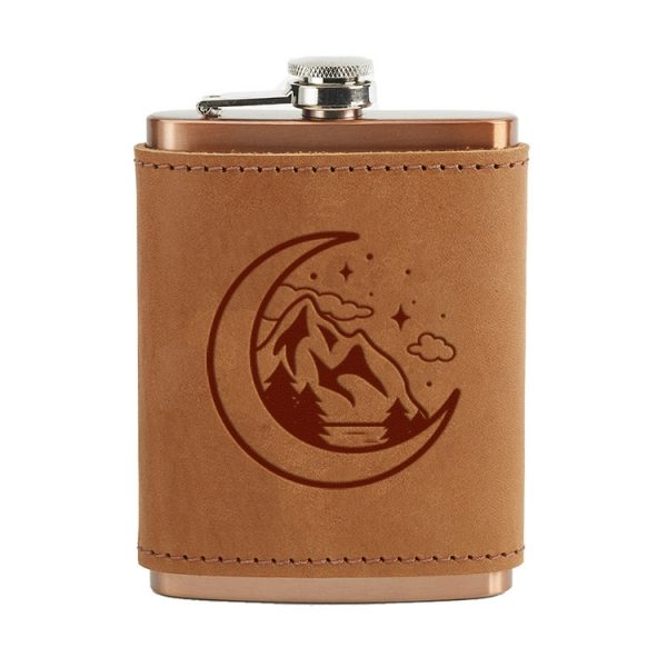 8 oz Copper Plated Stainless Flask with Leather Wrap: Mountains & Moon