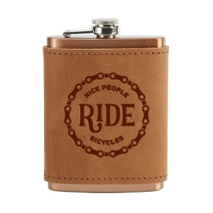 8 oz Copper Plated Stainless Flask with Leather Wrap: Nice People Ride Bikes