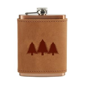 8 oz Copper Plated Stainless Flask with Leather Wrap: Pine Trees