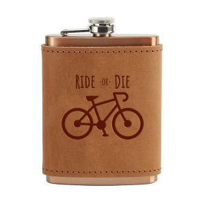 8 oz Copper Plated Stainless Flask with Leather Wrap: Ride or Die
