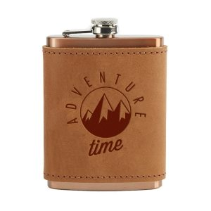 8 oz Copper Plated Stainless Flask with Leather Wrap: Adventure Time