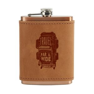 8 oz Copper Plated Stainless Flask with Leather Wrap: Travel Far & Wide