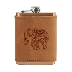 8 oz Copper Plated Stainless Flask with Leather Wrap: Elephant Mandala