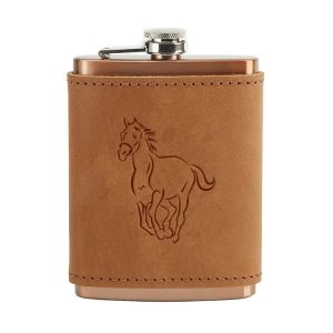 8 oz Copper Plated Stainless Flask with Leather Wrap: Horse