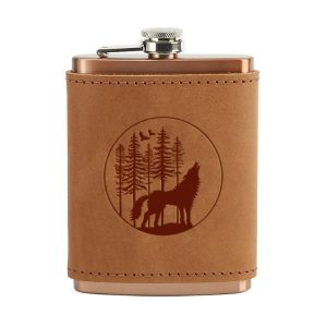 8 oz Copper Plated Stainless Flask with Leather Wrap: Howling Wolf