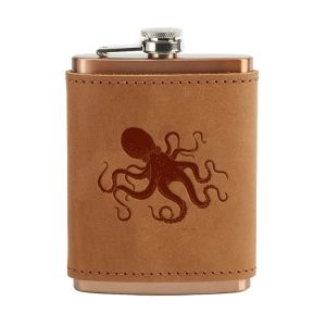 8 oz Copper Plated Stainless Flask with Leather Wrap: Octopus