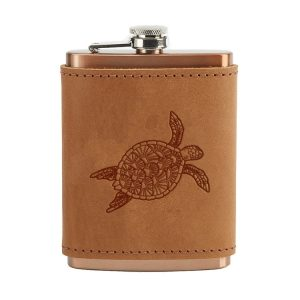 8 oz Copper Plated Stainless Flask with Leather Wrap: Sea Turtle