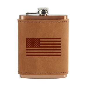 8 oz Copper Plated Stainless Flask with Leather Wrap: American Flag