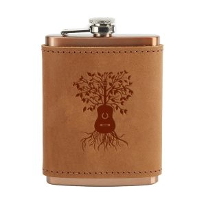 8 oz Copper Plated Stainless Flask with Leather Wrap: Guitar Tree