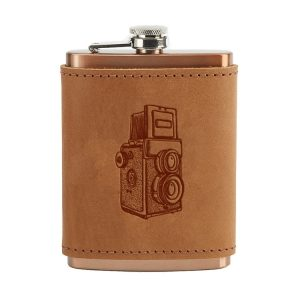 8 oz Copper Plated Stainless Flask with Leather Wrap: Twin Lens Camera