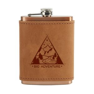 8 oz Copper Plated Stainless Flask with Leather Wrap: Big Adventure