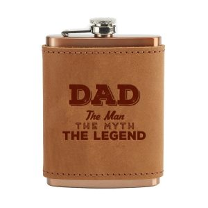 8 oz Copper Plated Stainless Flask with Leather Wrap: Dad - Man, Myth, Legend