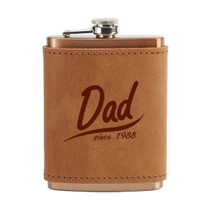 8 oz Copper Plated Stainless Flask with Leather Wrap: Dad Since
