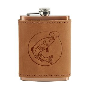 8 oz Copper Plated Stainless Flask with Leather Wrap: Fish Hook