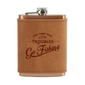 8 oz Copper Plated Stainless Flask with Leather Wrap: Go Fishing