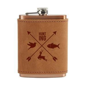8 oz Copper Plated Stainless Flask with Leather Wrap: Hunting Cross